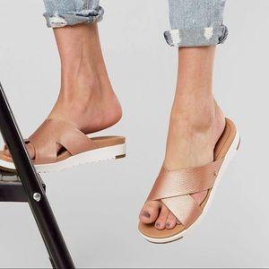 UGG Kari Metallic Rose Gold Sandals